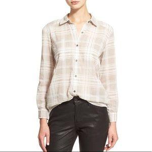 Soft Joie lieutenant beige plaid button down shirt
